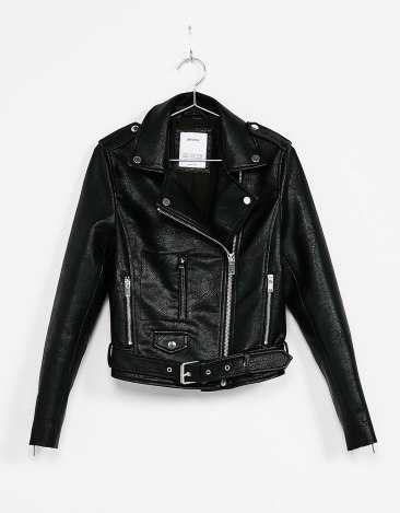 A leather jacket to layer under coats | BERSHKA - £39,99